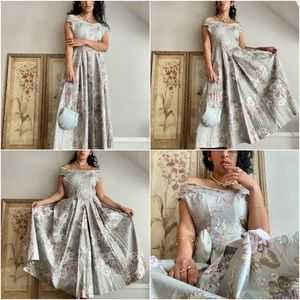 Laura Ashley, Vintage Muted Blue Floral Maxi Dress